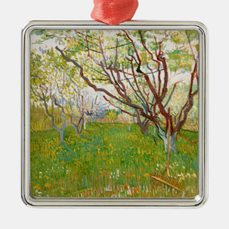 Orchard in Bloom Vincent van Gogh  fine art Silver-Colored Square Ornament