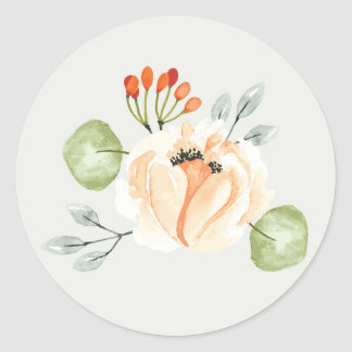 Orchard Park Single Flower and Leaves Classic Round Sticker