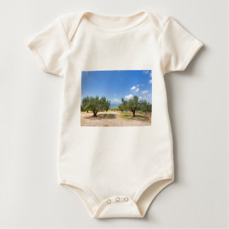 Orchard with olive trees at sea in  Greece Baby Bodysuit