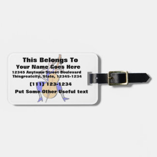 Orchestra bass player female blue dress luggage tag