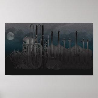 Orchestra Instrument Nighttime Skyline Poster
