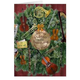 Orchestra Instruments Holiday Wreath Card