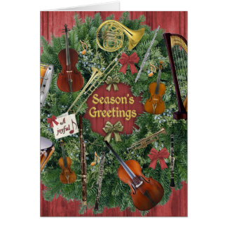 Orchestra Instruments Holiday Wreath, Joyful Note Card