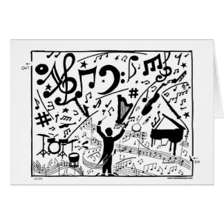 Orchestra maze graces this greeting card! card