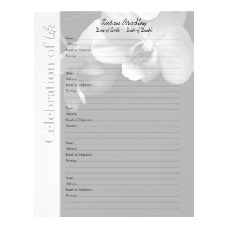 Orchid 1 Memorial Guest Book Custom Filler Pages Customized Letterhead