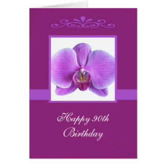 Orchid 90th Birthday Card