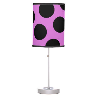 Orchid and Black Polka Dots Table Lamp