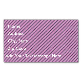 Orchid and Black Stripe Magnetic Business Card