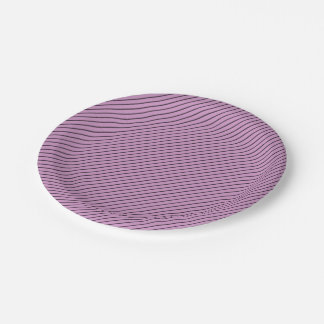 Orchid and Black Stripe Paper Plate