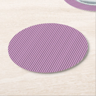 Orchid and Black Stripe Round Paper Coaster