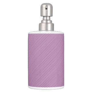 Orchid and Black Stripe Soap Dispenser And Toothbrush Holder
