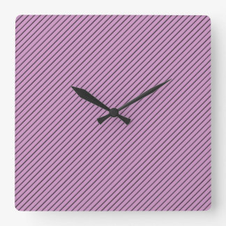 Orchid and Black Stripe Square Wall Clock