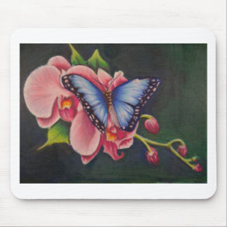 orchid and butterfly mouse pad