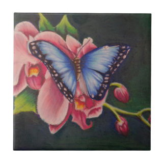 orchid and butterfly tile