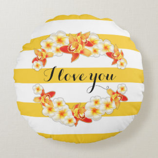 Orchid and Plumeria Flowers, Elegant I Love You Round Pillow