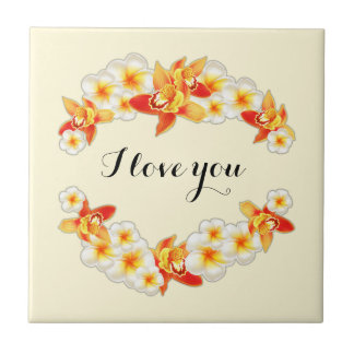 Orchid and Plumeria Flowers, Elegant I Love You Tile