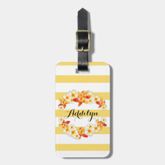 Orchid and Plumeria Flowers, Elegant Luggage Tag
