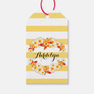 Orchid and Plumeria Flowers, Elegant Pack Of Gift Tags