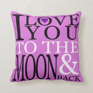 Orchid and Purple I Love You to the Moon and Back Throw Pillow