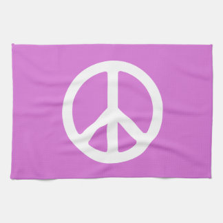 Orchid and White Peace Symbol Kitchen Towel