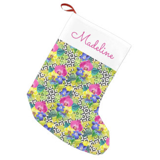 Orchid Begonia And Palm Leaves | Add Your Name Small Christmas Stocking