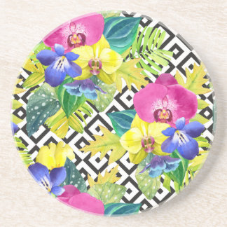 Orchid Begonia And Palm Leaves Coasters