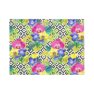 Orchid Begonia And Palm Leaves Doormat