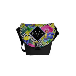 Orchid Begonia And Palm Leaves | Monogram Courier Bag
