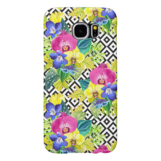 Orchid Begonia And Palm Leaves Samsung Galaxy S6 Cases