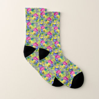 Orchid Begonia And Palm Leaves Socks