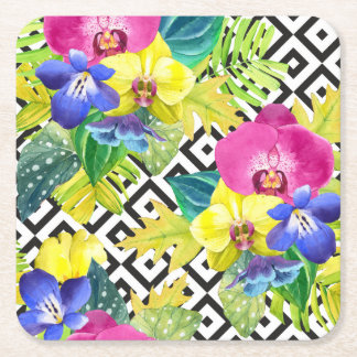 Orchid Begonia And Palm Leaves Square Paper Coaster