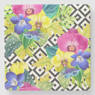 Orchid Begonia And Palm Leaves Stone Coaster