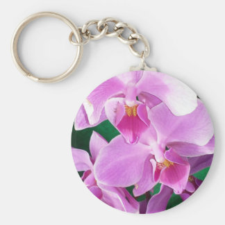 Orchid blooms closeup in pink keychain