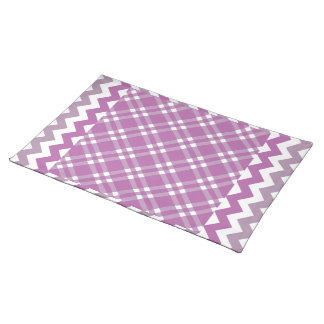 Orchid Colored Chevron and Plaid- Placemat