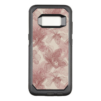 Orchid Engraving Pattern On Beige Background OtterBox Commuter Samsung Galaxy S8 Case