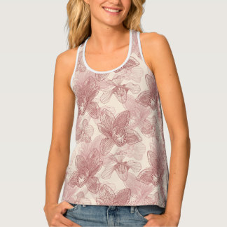 Orchid Engraving Pattern On Beige Background Tank Top