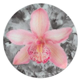 Orchid Flora melamine dinnerware plate. Dinner Plates