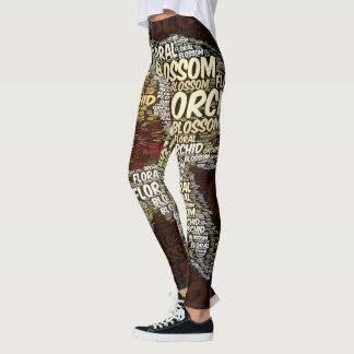 Orchid Floral Blossom Word Cloud Over Burgundy Leggings