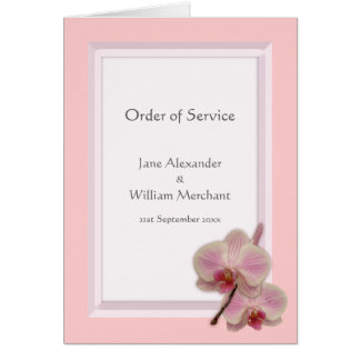 Orchid Floral Photo Order of Service Card
