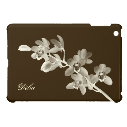 Orchid flower lover floral sepia brown custom name cover for the iPad mini
