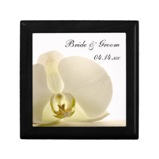 Orchid Flower on White Wedding Gift Box