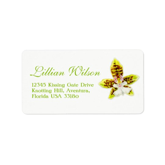 Orchid flower wedding reply address labels