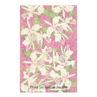 Orchid Flowers Faux Handmade Paper Stationery