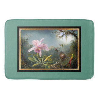 Orchid Flowers Floral Hummingbird Birds Bath Mat