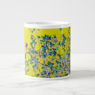 orchid flowers teal and yellow neat abstract desig jumbo mug