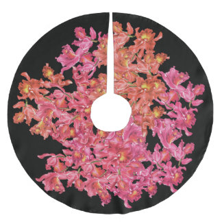 Orchid Flowers Tree Skirt Brushed Polyester Tree Skirt