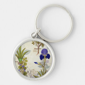 Orchid & Fumitory or Bleeding Heart Hedera & Iris Silver-Colored Round Keychain