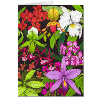 Orchid Garden Flowers Greeting Card