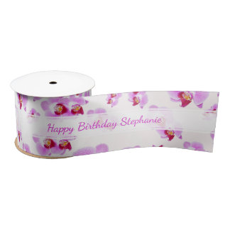 """Orchid """"Happy Birthday""""  Floral Photography Satin Ribbon"""