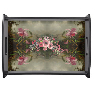 Orchid Hummingbirds and Roses at Play Serving Tray
